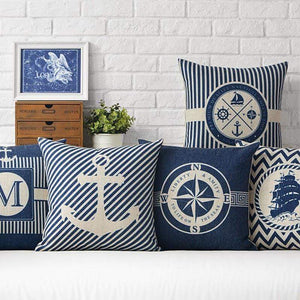 Her Shop pillow case Sea Blue Compass Printed Anchor Pattern Marine Ship Throw Pillow Case