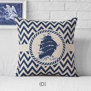 Her Shop pillow case 45x45cm / M311504 Sea Blue Compass Printed Anchor Pattern Marine Ship Throw Pillow Case