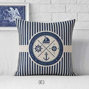 Her Shop pillow case 45x45cm / M311505 Sea Blue Compass Printed Anchor Pattern Marine Ship Throw Pillow Case