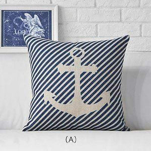 Her Shop pillow case 45x45cm / M311501 Sea Blue Compass Printed Anchor Pattern Marine Ship Throw Pillow Case