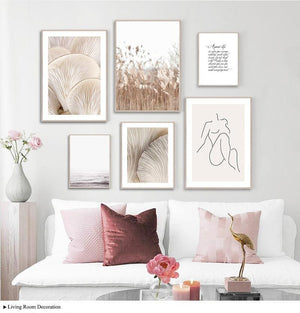 Her Shop poster Abstract Nordic Matisse Art Reeds Mushroom Canvas Poster