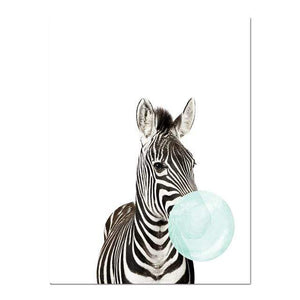 Her Shop poster 15x20cm No Frame / Picture 3 Baby Animal Zebra Giraffe Canvas Poster