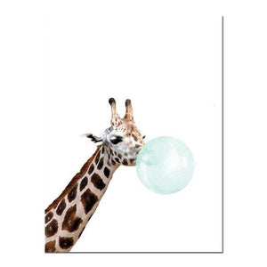 Her Shop poster 15x20cm No Frame / Picture 6 Baby Animal Zebra Giraffe Canvas Poster