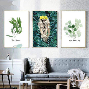 Her Shop Posters Animals & Leaves Wall Art Modern Abstract Watercolor Painting