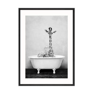 Her Shop Posters 60x80cm No Frame / Picture 2 Baby Animal in Bathtub Posters