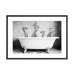 Her Shop Posters 60x80cm No Frame / Picture 14 Baby Animal in Bathtub Posters