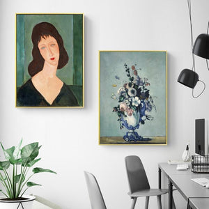 Her Shop Posters Classic Amedeo Modigliani Artwork Collection Abstract Canvas Print Painting Poster