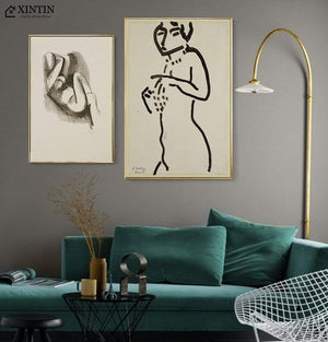 Her Shop Posters Naked Woman Short Sketch Henri Matisse Modern Canvas Paintings Posters