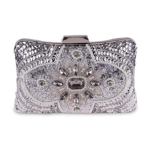 Her Shop Purse Design B Sliver New Glitter Women Beaded Clutch Silver Evening Bags With Chains