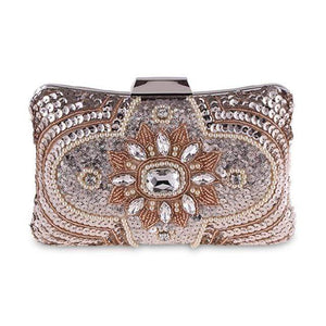 Her Shop Purse Design B Champagne New Glitter Women Beaded Clutch Silver Evening Bags With Chains