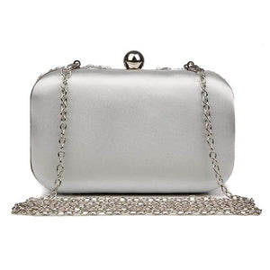 Her Shop Purse New Glitter Women Beaded Clutch Silver Evening Bags With Chains