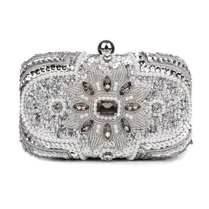 Her Shop Purse Design A Silver New Glitter Women Beaded Clutch Silver Evening Bags With Chains