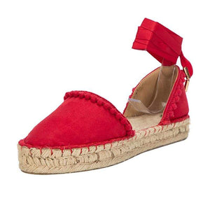 Her Shop Sandals Solid Rome Pompon Cross-Strap Ladies Summer Sandals