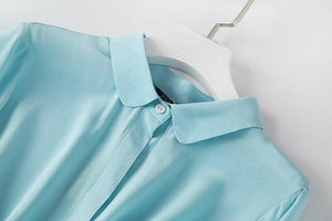 Her Shop Shirt 100% Natural Silk High Quality Sky Blue Shirts