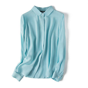 Her Shop Shirt Sky Blue / S 100% Natural Silk High Quality Sky Blue Shirts