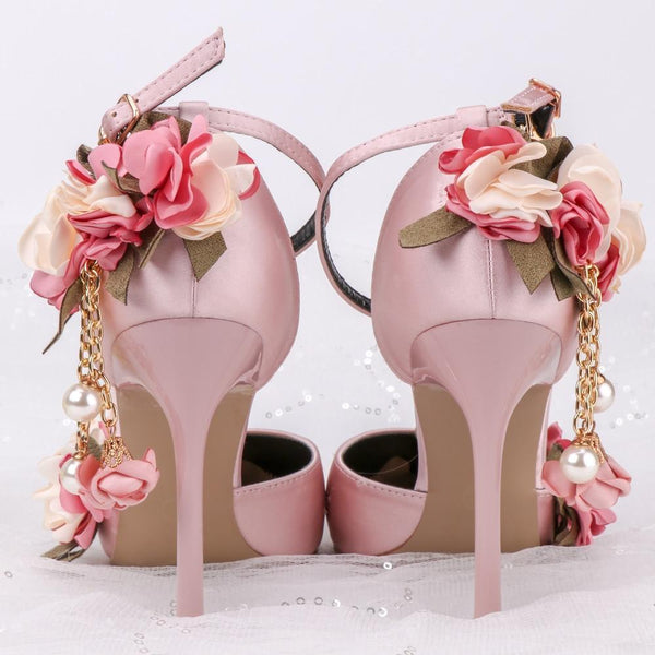 Her Shop Shoes Pink Floral Party Satin High Heels