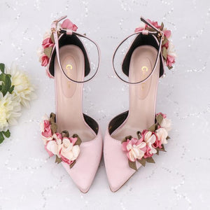 Her Shop Shoes pink / 34 Pink Floral Party Satin High Heels
