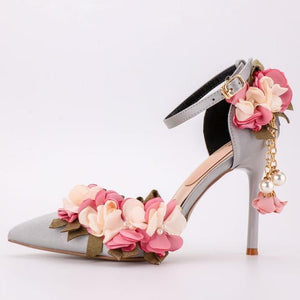 Her Shop Shoes gray or silver / 34 Pink Floral Party Satin High Heels