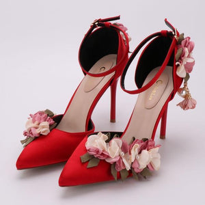 Her Shop Shoes red / 34 Pink Floral Party Satin High Heels