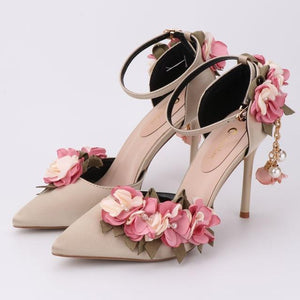 Her Shop Shoes light gold / 34 Pink Floral Party Satin High Heels