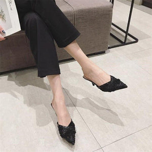 Her Shop Shoes Pointed Toe Black Mesh Thin Heels
