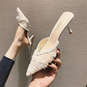 Her Shop Shoes Beige / 35 Pointed Toe Black Mesh Thin Heels
