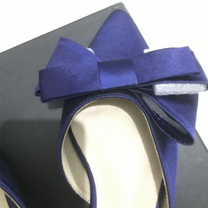 Her Shop Shoes Blue(high 1.5cm) / 41 Silk Satin Pointed Bow Tie Flats Slippers