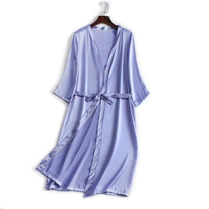 Her Shop Sleepwear Light Blue / One Size 100% Natural Silk Healthy Sleep Robes For Women