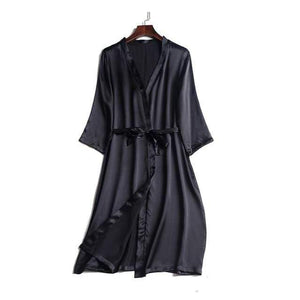 Her Shop Sleepwear Black / One Size 100% Natural Silk Healthy Sleep Robes For Women