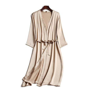 Her Shop Sleepwear Khaki / One Size 100% Natural Silk Healthy Sleep Robes For Women
