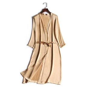 Her Shop Sleepwear Gold Khaki / One Size 100% Natural Silk Healthy Sleep Robes For Women