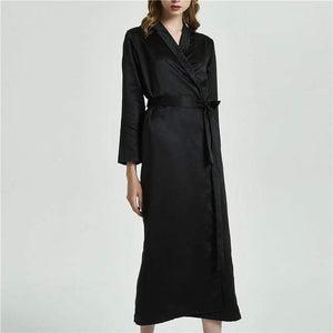 Her Shop Sleepwear Black / L Silk Robe Long Nightwear