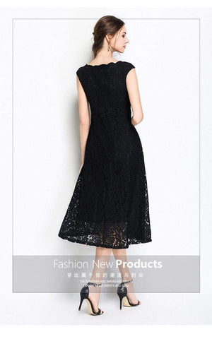 Her Shop Slim Sleeveless Lace Party Dress