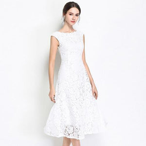 Her Shop white / XXL Slim Sleeveless Lace Party Dress