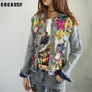 Her Shop Spring Embroidery Rose Floral Beading Denim Bomber