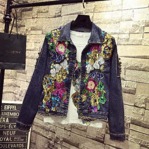 Her Shop Dark / S Spring Embroidery Rose Floral Beading Denim Bomber