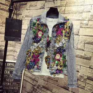 Her Shop Light color / S Spring Embroidery Rose Floral Beading Denim Bomber