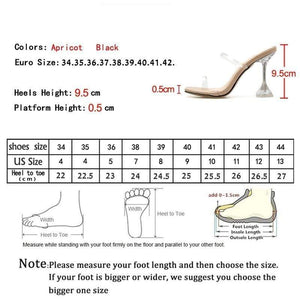 Her Shop Summer Fashion Crystal Transparent  Heeled Slippers