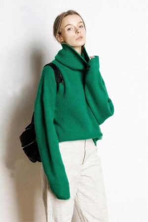 Her Shop sweater green / S Hot Sale High Collar 5 Colors Pullover 100% Cashmere Knitted Jumpers