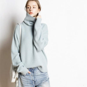 Her Shop sweater light blue / L Hot Sale High Collar 5 Colors Pullover 100% Cashmere Knitted Jumpers