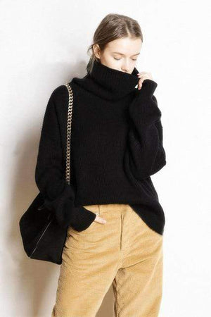 Her Shop sweater black / M Hot Sale High Collar 5 Colors Pullover 100% Cashmere Knitted Jumpers
