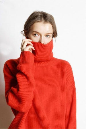 Her Shop sweater red / M Hot Sale High Collar 5 Colors Pullover 100% Cashmere Knitted Jumpers