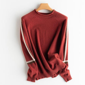 Her Shop Sweaters & Hoodies Burgundy / XL 100% pure cashmere all-match pullover