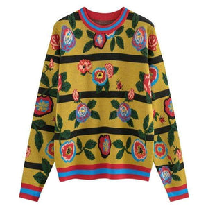 Her Shop Sweaters o-neck / L New Fashion Designer High Quality Women Runway Vintage Floral Sweaters