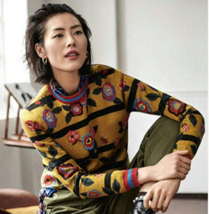 Her Shop Sweaters New Fashion Designer High Quality Women Runway Vintage Floral Sweaters