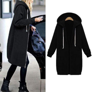 Her Shop Sweatshirts & Hoodies black / S Casual Long Zippered Hooded Jacket