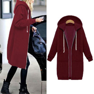 Her Shop Sweatshirts & Hoodies Wine red / S Casual Long Zippered Hooded Jacket
