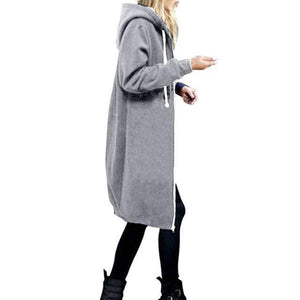 Her Shop Sweatshirts & Hoodies Light grey / S Casual Long Zippered Hooded Jacket