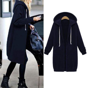 Her Shop Sweatshirts & Hoodies navy / S Casual Long Zippered Hooded Jacket