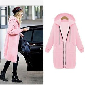 Her Shop Sweatshirts & Hoodies pink / S Casual Long Zippered Hooded Jacket